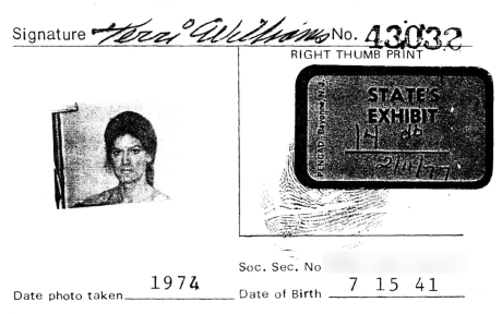 Terri Williams 1974 ID Card